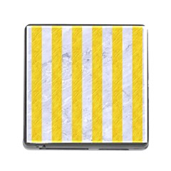 Stripes1 White Marble & Yellow Colored Pencil Memory Card Reader (square) by trendistuff