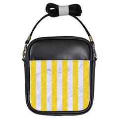 Stripes1 White Marble & Yellow Colored Pencil Girls Sling Bags by trendistuff