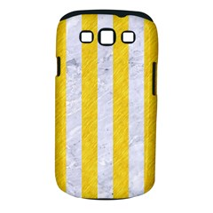 Stripes1 White Marble & Yellow Colored Pencil Samsung Galaxy S Iii Classic Hardshell Case (pc+silicone) by trendistuff