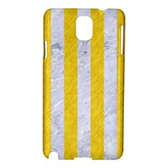 Stripes1 White Marble & Yellow Colored Pencil Samsung Galaxy Note 3 N9005 Hardshell Case by trendistuff
