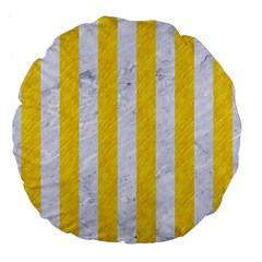 Stripes1 White Marble & Yellow Colored Pencil Large 18  Premium Flano Round Cushions by trendistuff