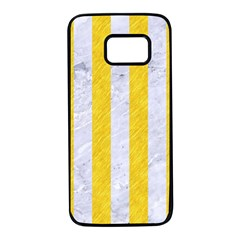 Stripes1 White Marble & Yellow Colored Pencil Samsung Galaxy S7 Black Seamless Case by trendistuff