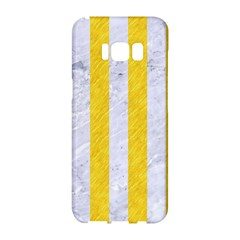 Stripes1 White Marble & Yellow Colored Pencil Samsung Galaxy S8 Hardshell Case  by trendistuff