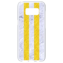 Stripes1 White Marble & Yellow Colored Pencil Samsung Galaxy S8 White Seamless Case by trendistuff