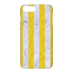 Stripes1 White Marble & Yellow Colored Pencil Apple Iphone 8 Plus Hardshell Case by trendistuff