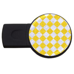 Square2 White Marble & Yellow Colored Pencil Usb Flash Drive Round (2 Gb) by trendistuff