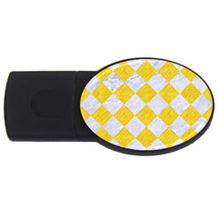 Square2 White Marble & Yellow Colored Pencil Usb Flash Drive Oval (2 Gb) by trendistuff