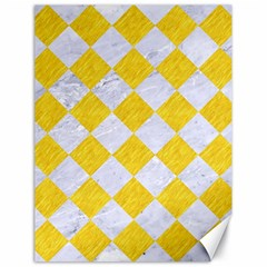 Square2 White Marble & Yellow Colored Pencil Canvas 18  X 24   by trendistuff