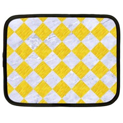 Square2 White Marble & Yellow Colored Pencil Netbook Case (xxl)  by trendistuff