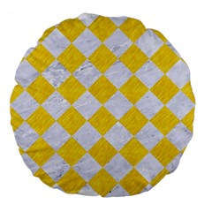 Square2 White Marble & Yellow Colored Pencil Large 18  Premium Flano Round Cushions by trendistuff