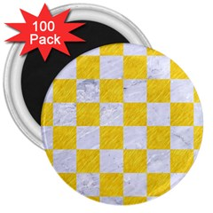 Square1 White Marble & Yellow Colored Pencil 3  Magnets (100 Pack) by trendistuff