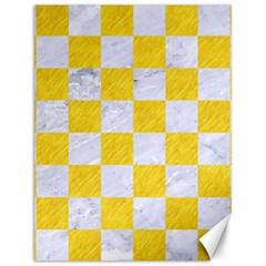 Square1 White Marble & Yellow Colored Pencil Canvas 12  X 16   by trendistuff