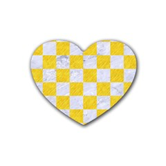 Square1 White Marble & Yellow Colored Pencil Heart Coaster (4 Pack)  by trendistuff