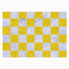 Square1 White Marble & Yellow Colored Pencil Large Glasses Cloth by trendistuff
