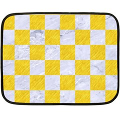 Square1 White Marble & Yellow Colored Pencil Double Sided Fleece Blanket (mini)  by trendistuff