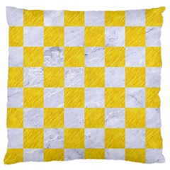 Square1 White Marble & Yellow Colored Pencil Large Flano Cushion Case (one Side) by trendistuff