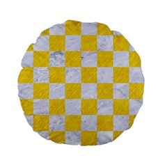 Square1 White Marble & Yellow Colored Pencil Standard 15  Premium Flano Round Cushions by trendistuff