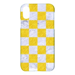 Square1 White Marble & Yellow Colored Pencil Apple Iphone X Hardshell Case