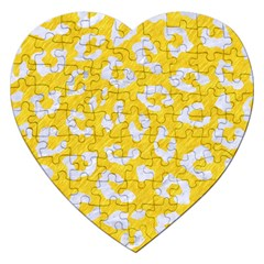 Skin5 White Marble & Yellow Colored Pencil (r) Jigsaw Puzzle (heart) by trendistuff