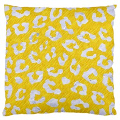 Skin5 White Marble & Yellow Colored Pencil (r) Large Flano Cushion Case (two Sides) by trendistuff