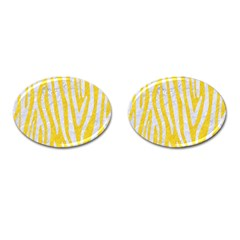 Skin4 White Marble & Yellow Colored Pencil (r) Cufflinks (oval) by trendistuff