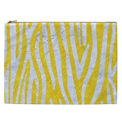 Skin4 White Marble & Yellow Colored Pencil (r) Cosmetic Bag (xxl)