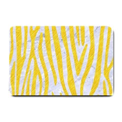 Skin4 White Marble & Yellow Colored Pencil Small Doormat  by trendistuff