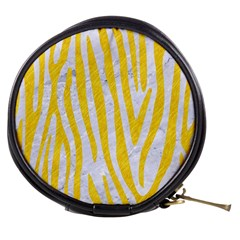 Skin4 White Marble & Yellow Colored Pencil Mini Makeup Bags by trendistuff
