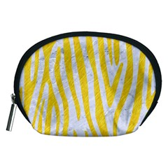 Skin4 White Marble & Yellow Colored Pencil Accessory Pouches (medium)  by trendistuff