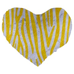 Skin4 White Marble & Yellow Colored Pencil Large 19  Premium Flano Heart Shape Cushions by trendistuff