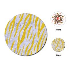 Skin3 White Marble & Yellow Colored Pencil (r) Playing Cards (round)  by trendistuff