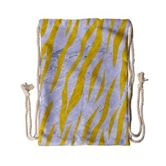 Skin3 White Marble & Yellow Colored Pencil (r) Drawstring Bag (small) by trendistuff
