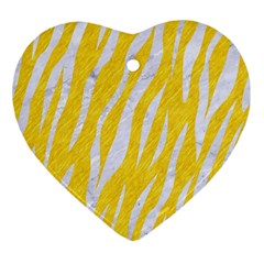 Skin3 White Marble & Yellow Colored Pencil Ornament (heart) by trendistuff