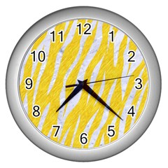 Skin3 White Marble & Yellow Colored Pencil Wall Clocks (silver)  by trendistuff