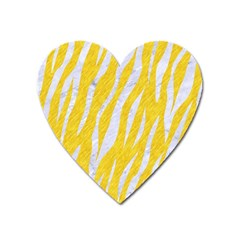 Skin3 White Marble & Yellow Colored Pencil Heart Magnet by trendistuff