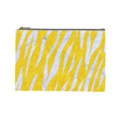 Skin3 White Marble & Yellow Colored Pencil Cosmetic Bag (large)  by trendistuff