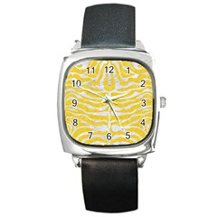 Skin2 White Marble & Yellow Colored Pencil Square Metal Watch by trendistuff