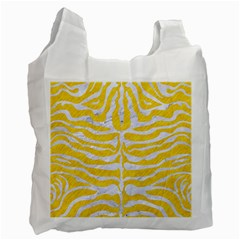 Skin2 White Marble & Yellow Colored Pencil Recycle Bag (one Side) by trendistuff