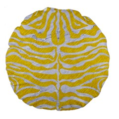 Skin2 White Marble & Yellow Colored Pencil Large 18  Premium Flano Round Cushions by trendistuff