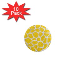 Skin1 White Marble & Yellow Colored Pencil (r) 1  Mini Magnet (10 Pack)  by trendistuff