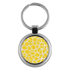 Skin1 White Marble & Yellow Colored Pencil (r) Key Chains (round)  by trendistuff