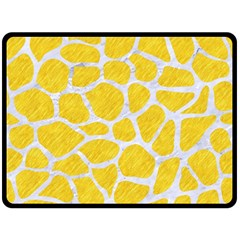 Skin1 White Marble & Yellow Colored Pencil (r) Double Sided Fleece Blanket (large)  by trendistuff