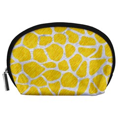 Skin1 White Marble & Yellow Colored Pencil (r) Accessory Pouches (large)  by trendistuff