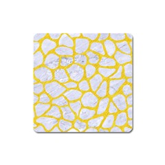 Skin1 White Marble & Yellow Colored Pencil Square Magnet by trendistuff