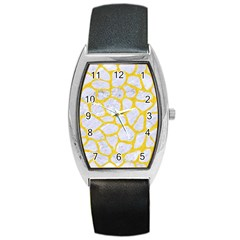 Skin1 White Marble & Yellow Colored Pencil Barrel Style Metal Watch by trendistuff