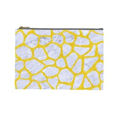 Skin1 White Marble & Yellow Colored Pencil Cosmetic Bag (large)  by trendistuff