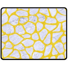 Skin1 White Marble & Yellow Colored Pencil Fleece Blanket (medium)  by trendistuff