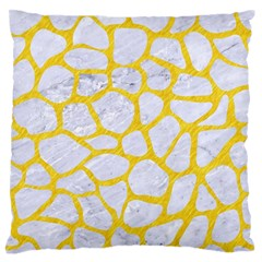 Skin1 White Marble & Yellow Colored Pencil Large Flano Cushion Case (one Side) by trendistuff