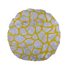 Skin1 White Marble & Yellow Colored Pencil Standard 15  Premium Flano Round Cushions by trendistuff