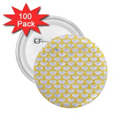 Scales3 White Marble & Yellow Colored Pencil (r) 2 25  Buttons (100 Pack)  by trendistuff